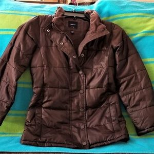 Girls Gap Puffer Coat Jacket 6/7 Brown